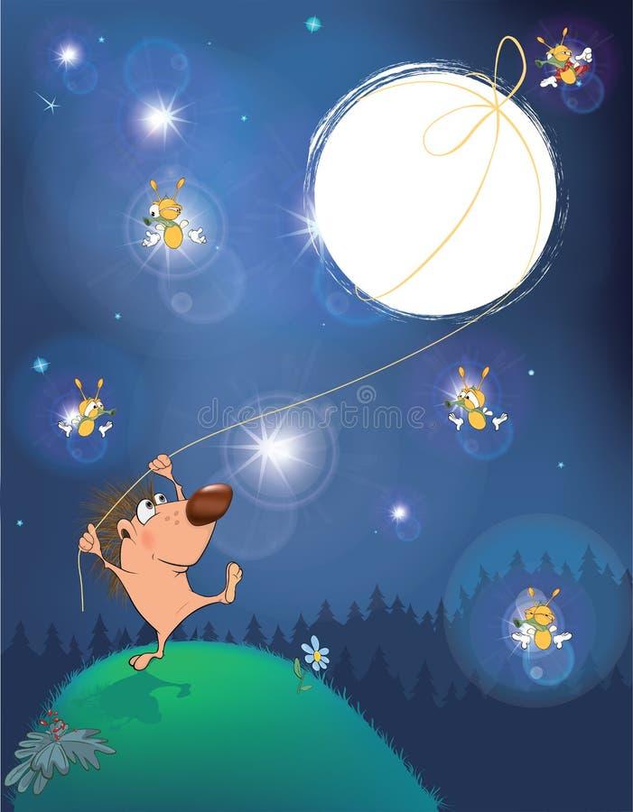 关于猬和月亮的一个童话 皇族释放例证
