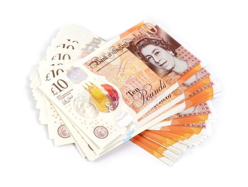 关于白色背景的英国十磅笔记 免版税库存图片