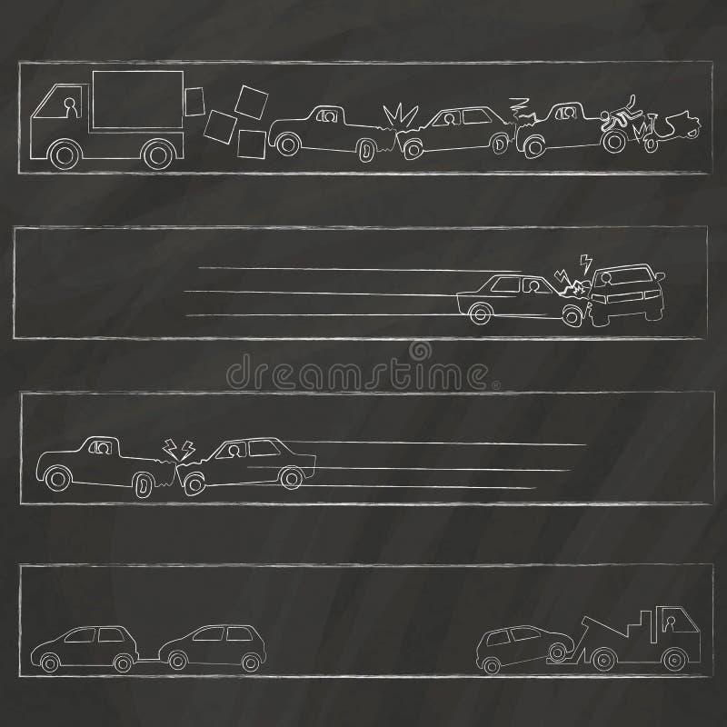 关于碰撞的外形图手拉在粉笔板 向量例证