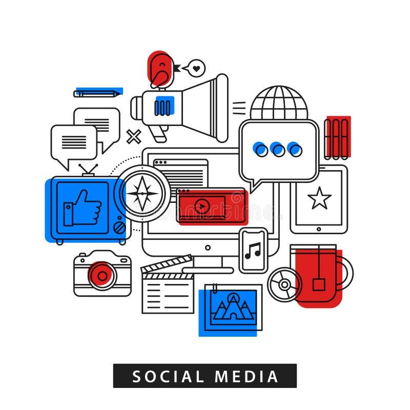 关于社会媒介的现代例证在概述平的样式 台式计算机、电视、电话、照相机,片剂等 库存例证