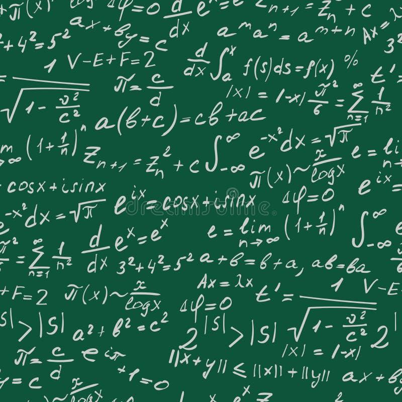 关于精密科学的无缝的例证与惯例和标志,在绿色背景的白色等高 库存例证