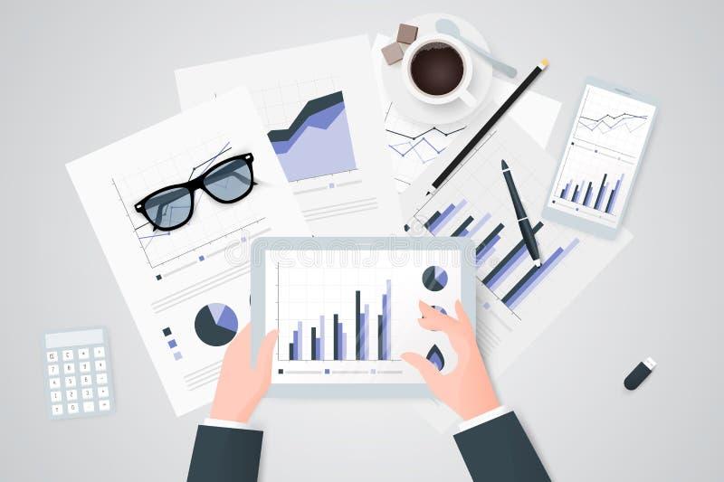 关于纸板料,现代电子和移动设备的业务报告 工作桌面顶视图 平的设计 向量例证