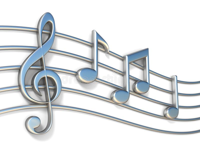 关于职员排列3D的音乐笔记 向量例证