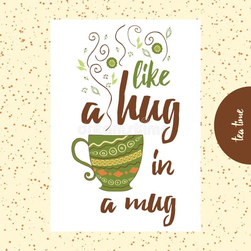 关于茶或咖啡的行情 象在杯子的拥抱 有逗人喜爱的蒸汽的手画杯子 库存例证