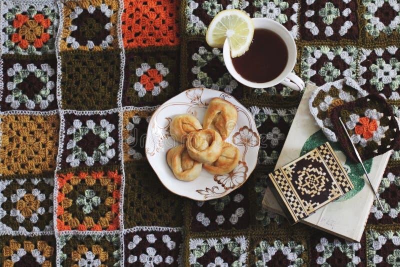 关于茶的舒适读书 免版税库存照片