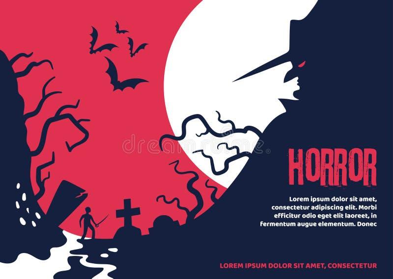 关于落入神秘的地方的一个人的可怕万圣节海报 库存例证