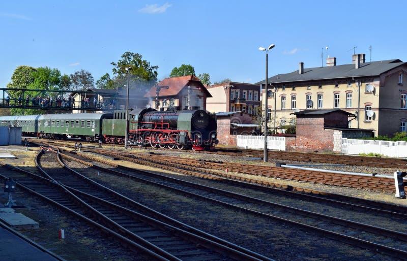 关于蒸汽机车的每年游行在沃尔什滕,波兰 库存照片