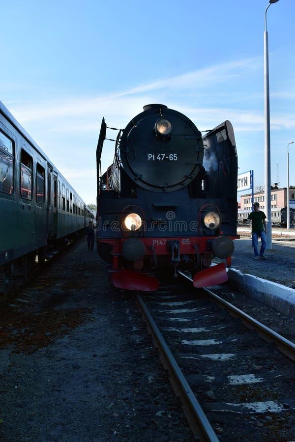 关于蒸汽机车的每年游行在沃尔什滕,波兰 免版税库存图片
