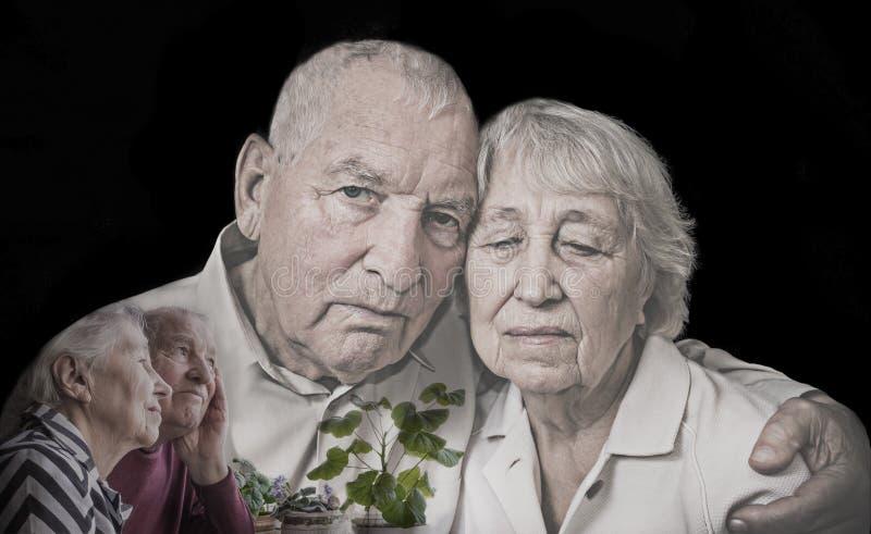 关于资深夫妇的拼贴画 免版税库存图片