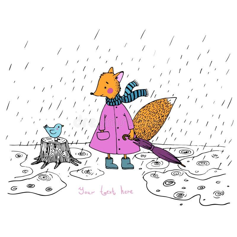 关于逗人喜爱的狐狸和鸟的故事在雨中 皇族释放例证