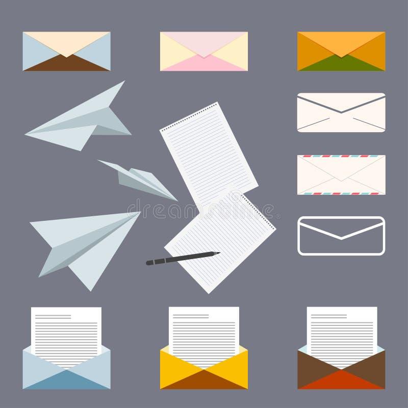 关于邮政信件的概念性集合 皇族释放例证