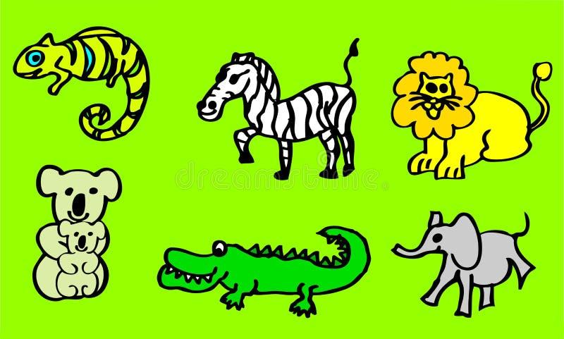 关于野生动物的图画有也狮子和鳄鱼的孩子的可利用作为传染媒介图画 向量例证