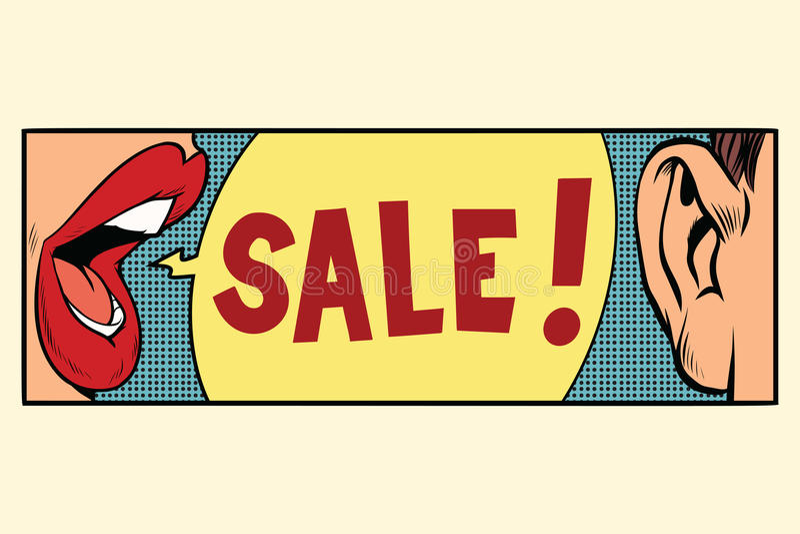 关于销售,流行艺术概念的谣言 向量例证