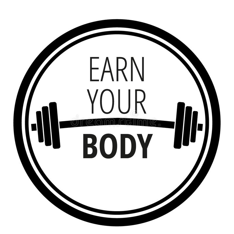 关于锻炼健身健身房和体型的诱导行情/刺激概念印刷术/传染媒介例证 向量例证