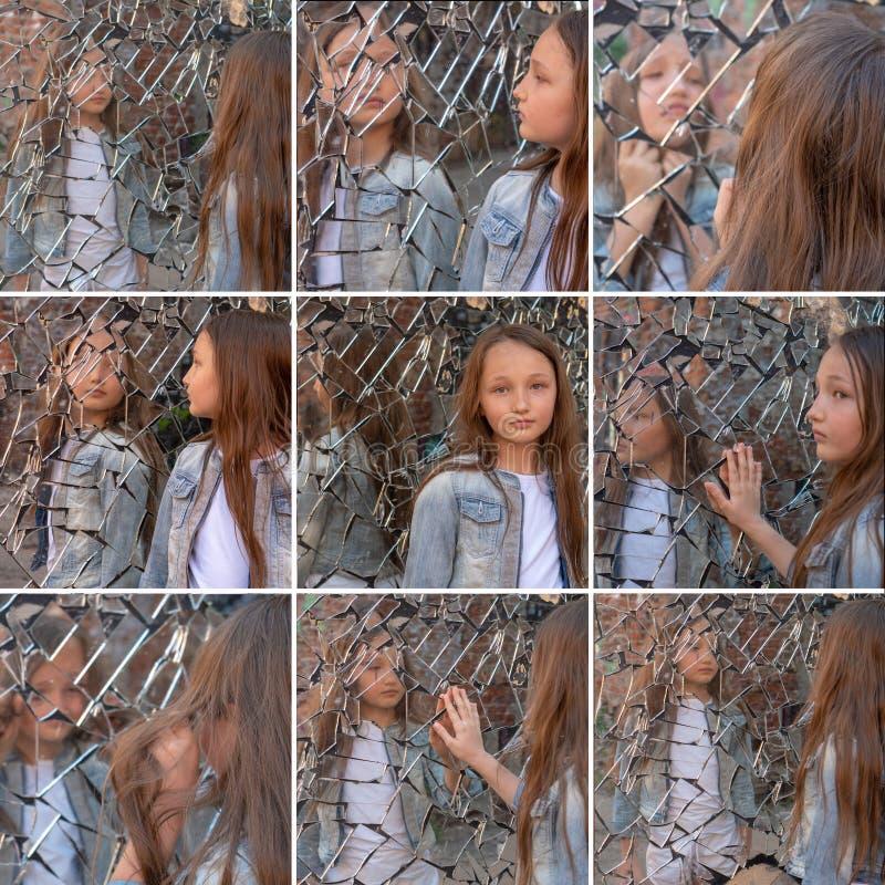 关于青少年的问题的拼贴画 过渡年龄 女孩女小学生看起来哀伤在残破的镜子 免版税库存图片