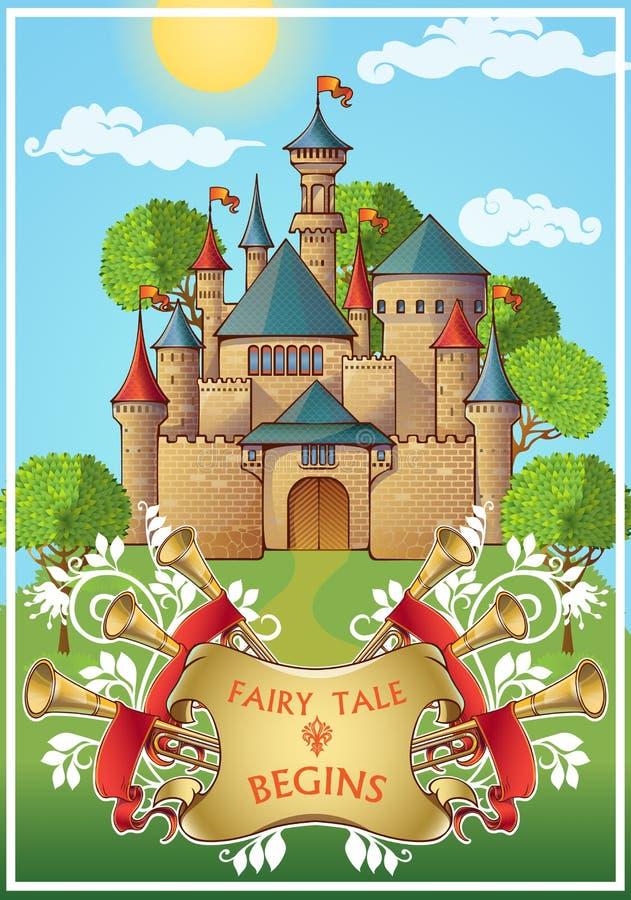关于骑士海报的童话 向量例证