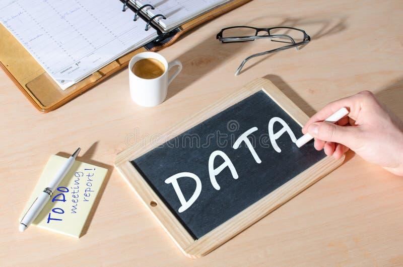 关于黑板的词数据 免版税库存照片