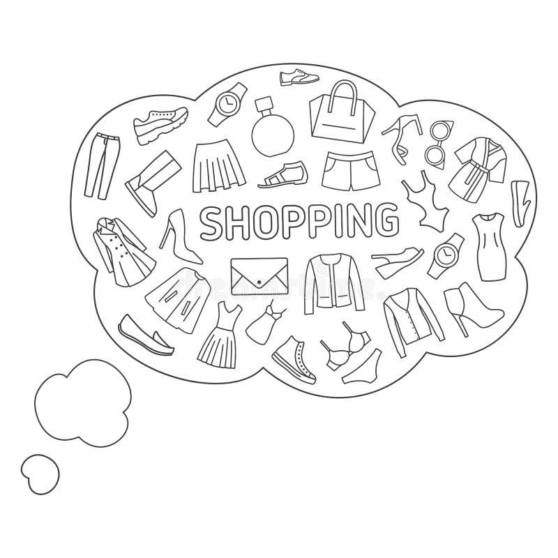关于购物的想法 想法起泡关于购物,衣裳,鞋子,辅助部件 向量例证