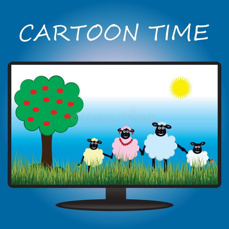关于绵羊的动画片在电视屏幕上,平的设计 向量例证