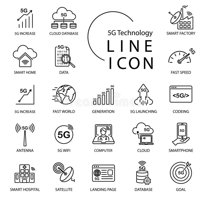 关于5G的简单的线象,thingsIOT技术互联网  包括聪明的工厂,wifi,网络,云彩和更 库存图片