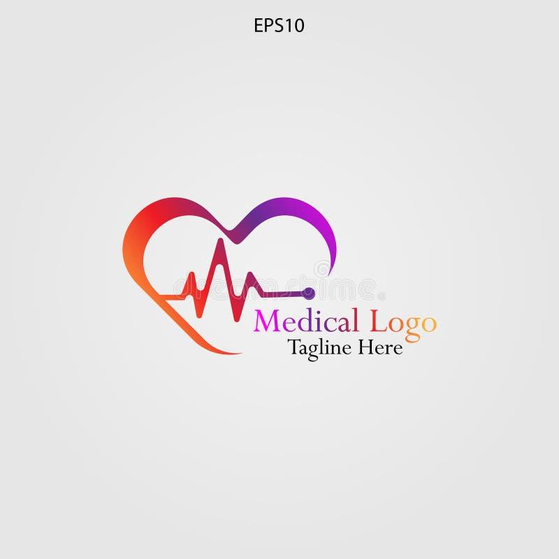 关心心脏健康商标 库存例证