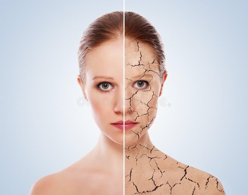 关心概念化妆用品影响皮肤处理 免版税库存照片