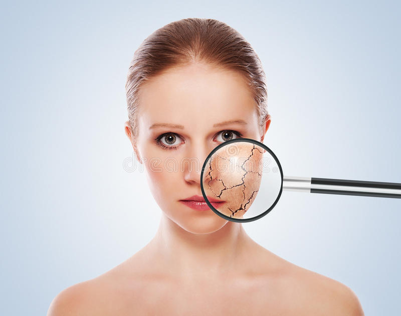 关心概念化妆用品影响皮肤处理 免版税库存图片