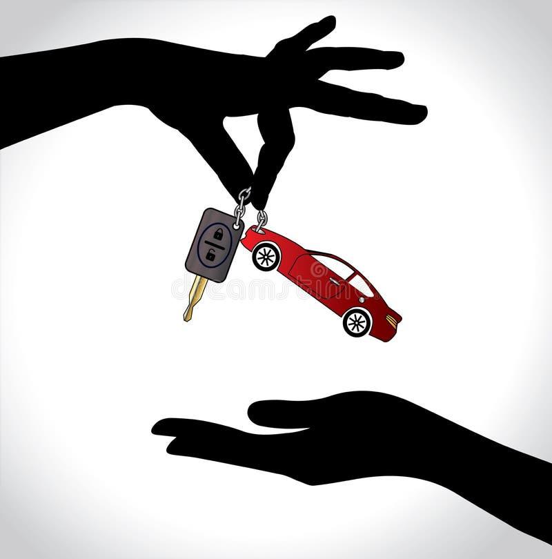 关心销售或汽车关键性概念例证 库存例证
