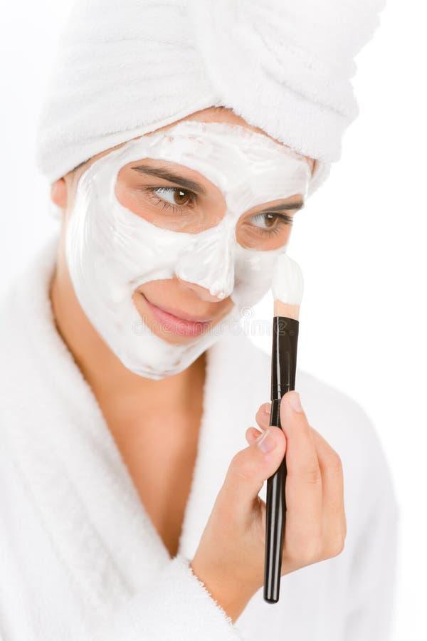 关心面部屏蔽问题皮肤少年妇女 库存图片
