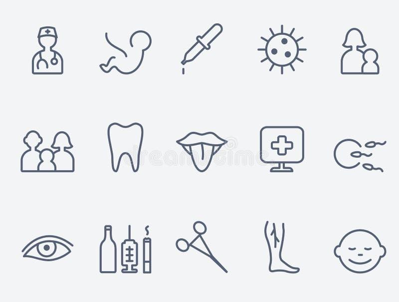 关心医疗健康的图标 库存例证