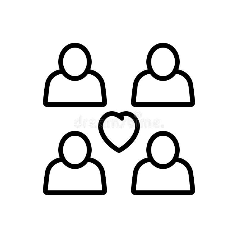 关系、夫妇和二重奏的黑线象 库存例证