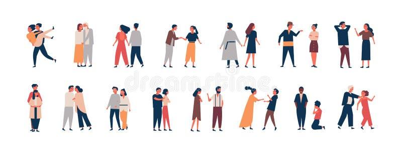 关系发展阶段的汇集 约会套的男人和的妇女,争吵,拥抱,战斗 夫妇或 库存例证