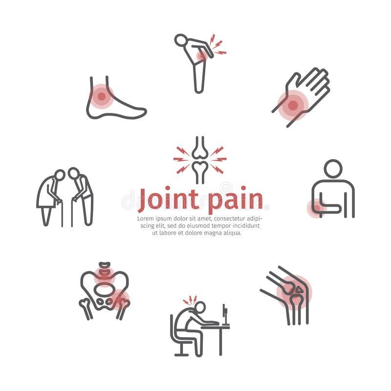 关节痛横幅 被设置的图标 网图表的传染媒介标志 向量例证