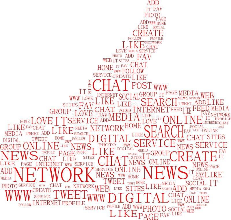 关键字媒体社会符号文本赞许 库存例证