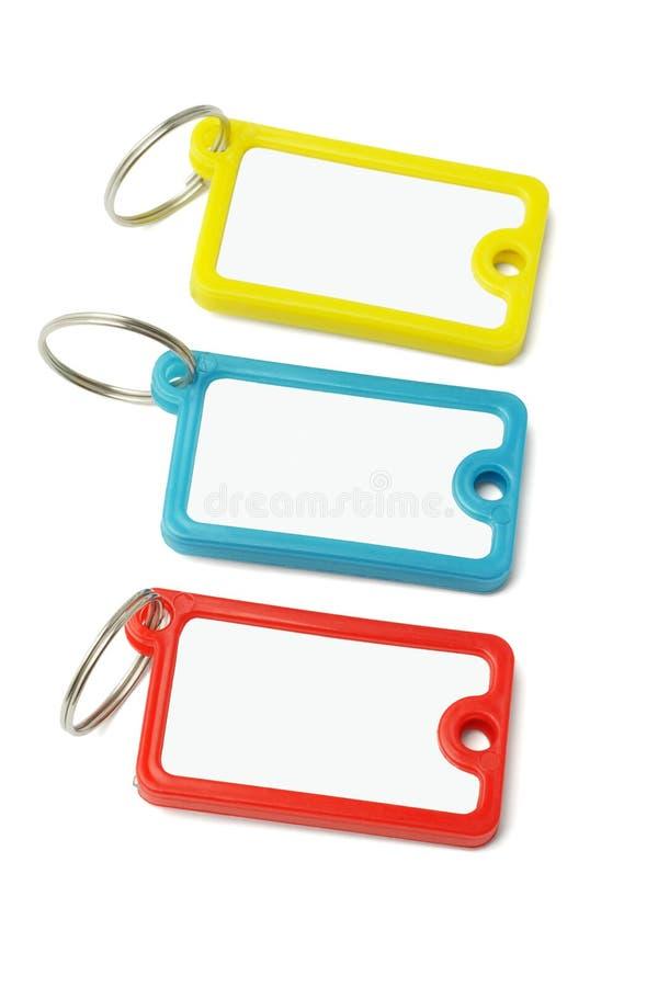 关键字标记多色塑料 免版税库存照片