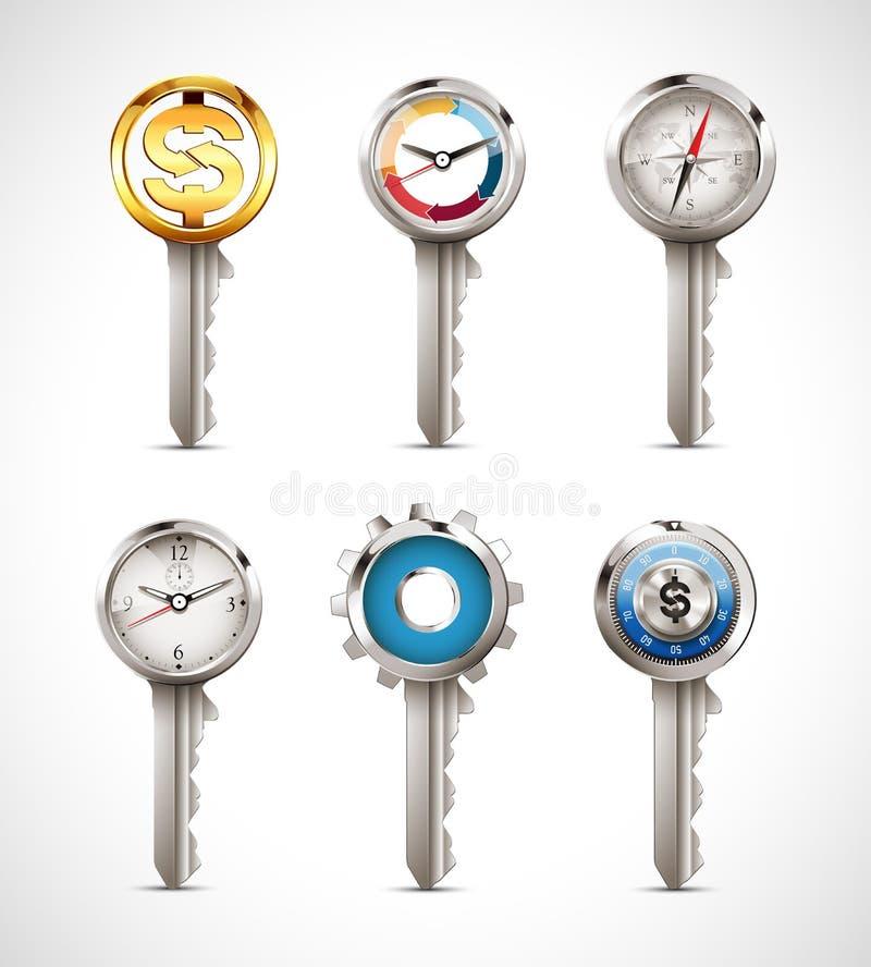 关键性概念-作为企业想法例证的钥匙 库存例证