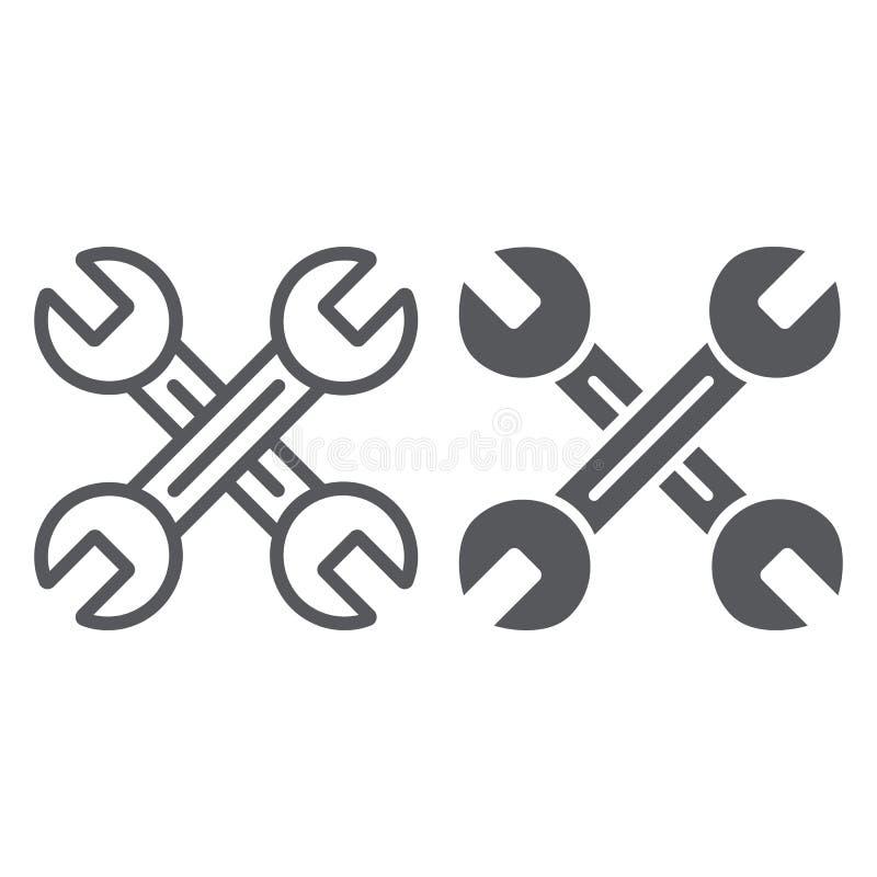 关键技工线和纵的沟纹象,汽车和工具,横渡了板钳签字,向量图形,在白色的一个线性样式 皇族释放例证
