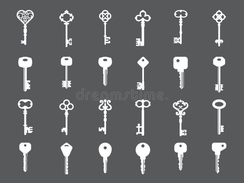关键收藏 商标设计的减速火箭和现代房子钥匙剪影传染媒介模板 库存例证
