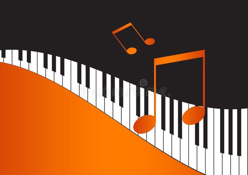 关键董事会音乐注意波浪的钢琴 向量例证