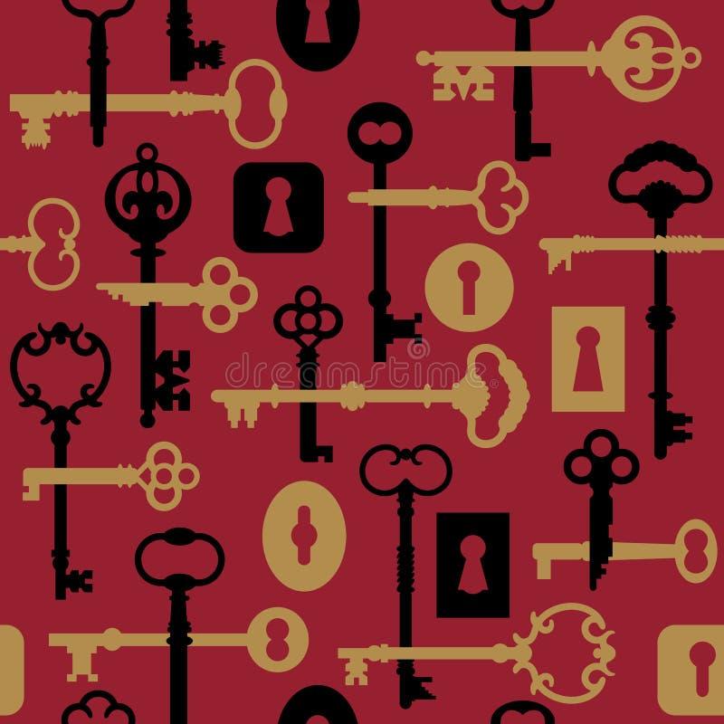 关键锁定模式红色概要 库存例证