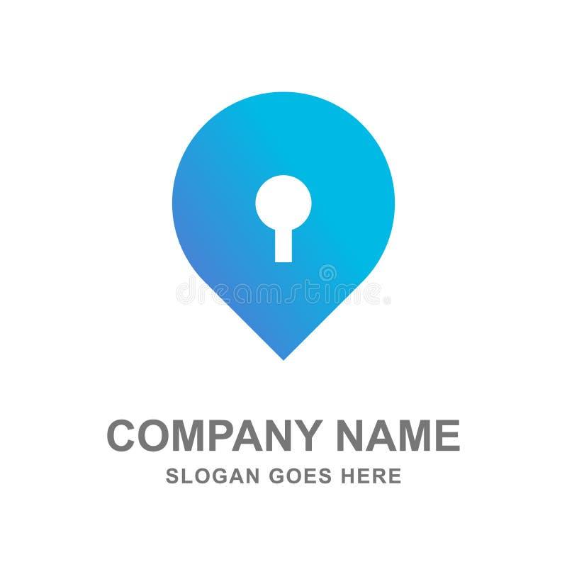 关键锁航海地图商标传染媒介设计 免版税库存照片