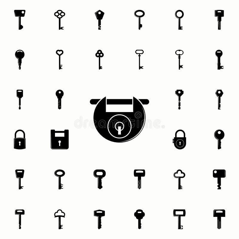 关键锁象 锁和钥匙象全集网和机动性的 库存例证