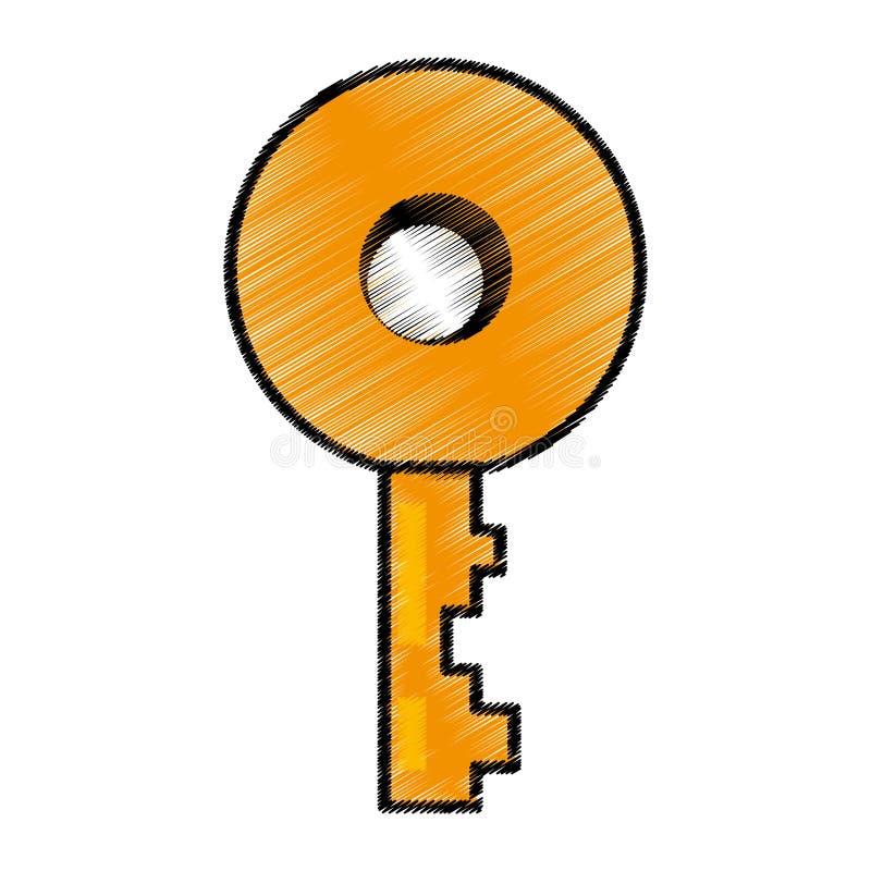 关键门锁图象剪影 向量例证