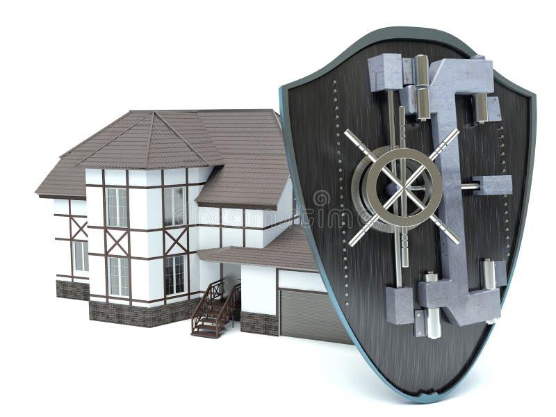 关闭一个房子的看法有盾的 库存例证