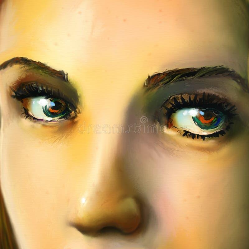 关闭一个新womans表面-数字式艺术 库存照片