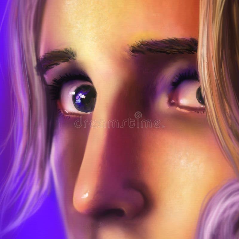 关闭一名哀伤的妇女的表面-数字式艺术 免版税库存照片