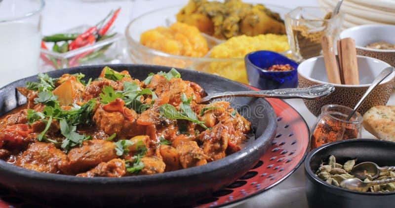 关闭一鸡tikka masala的看法用印地安香料 免版税图库摄影