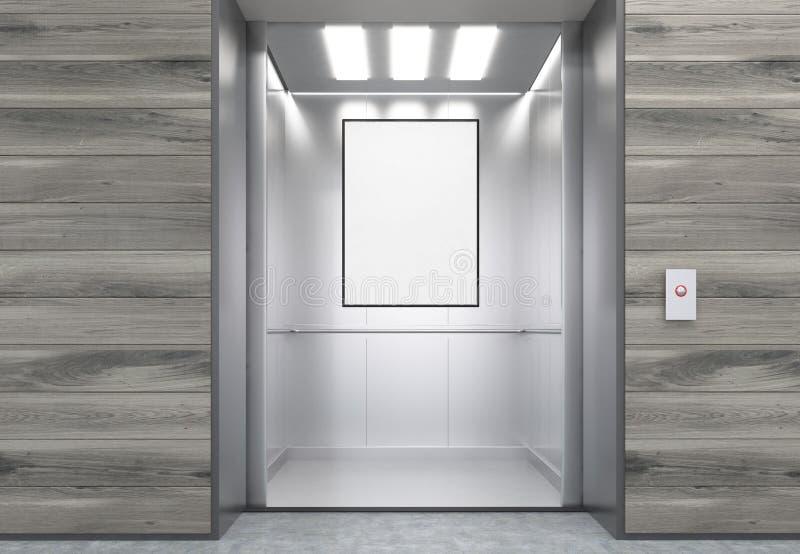 关闭与垂直的海报的电梯客舱 皇族释放例证