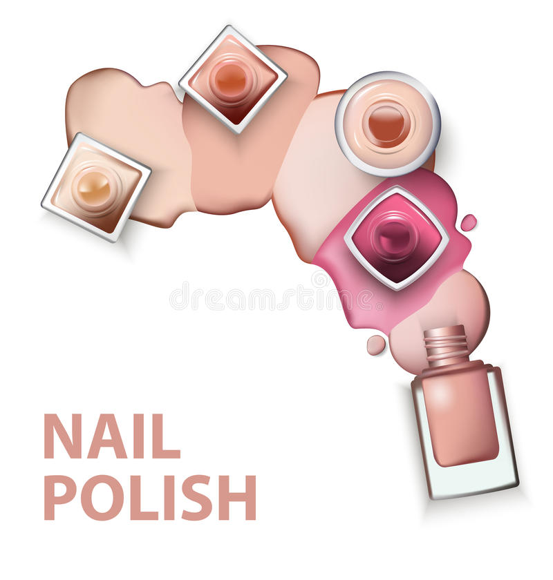 关闭与指甲油光轻淡优美的色彩下落的指甲油在白色背景的 向量 库存例证