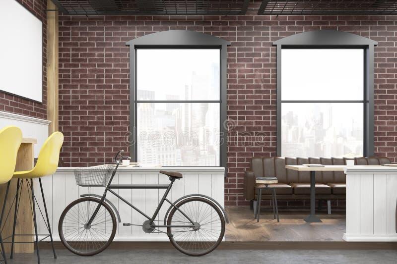 关闭与砖墙和自行车的咖啡馆内部 向量例证